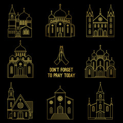 Gold line christian church icons and praying hands with prayer beads vector isolated on white background