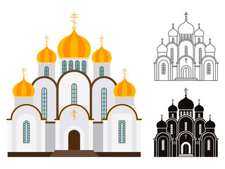 Orthodox church buildings vector isolated on white background
