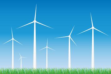 White wind turbines on windfarm