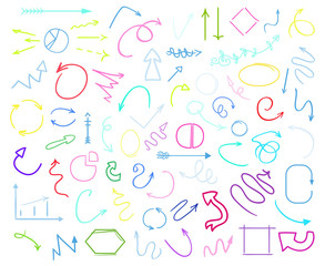 Multicolored infographic elements isolated on white. Set of different indicator signs. Tangled hand drawn simple objects. Line art. Abstract circles, arrows and rectangles. Symbols for work