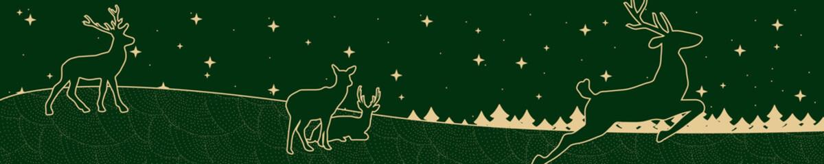 Weihnachtsbanner mit Rentieren vor einer sternenreichen Nacht