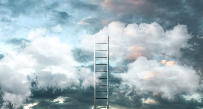 Ladder on clouds with sky background - Way to success concept. 3d illustration