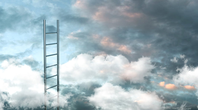 Ladder to the clouds concept image. 3d illustration