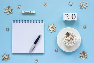 calendar December 20 cup cocoa and marshmallow, empty open notepad