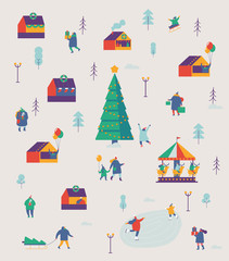 Christmas market and holiday fair pattern  Winter and holiday activities. Flat vector illustration.