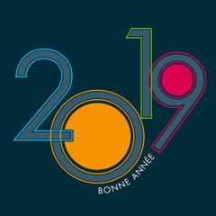 Carte de vœux 2019 design, avec des chiffres gris cernés de couleurs vives pour souhaiter la bonne année.