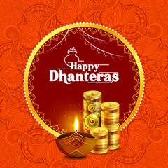 Illustration of decorated Happy Dhanteras Diwali holiday background