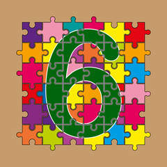 number 6 is composed of pieces of color puzzles