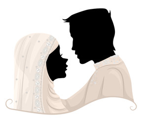Silhouette Couple Muslim Wedding Illustration
