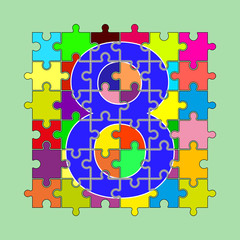 number 8 is composed of pieces of color puzzles