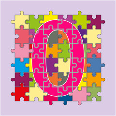 number 0 is made up of fragments of colored puzzlesnumber 0 is made up of fragments of colored puzzles