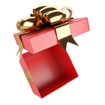 White boxes with red ribbons arranged in a circle, in the center is an empty open gift.