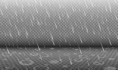 Rain with water ripples 3D effect isolated on transparency background, autumn rainfall, realistic heavy rain foreground with blurred drops and circle waves, rain design template or element Fototapete