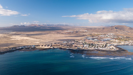 aerial view of Corralejo bay
