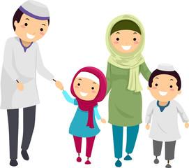 Stickman Family Muslim Walk Illustration