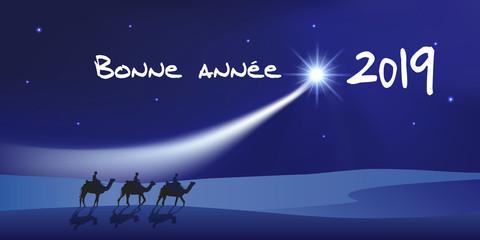 Carte de vœux 2019 montrant les trois rois mage à dos de dromadaire se dirigeant vers Bethléem avec des cadeaux pour célébrer la naissance de Jésus Christ