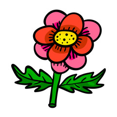 Cartoon flower isolated on white background. Vector illustration.