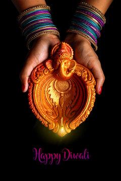 Indian Festival diwali , Lamp in hand
