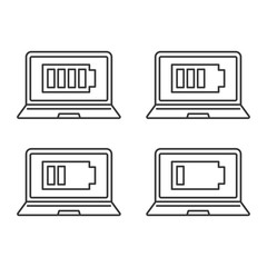 Laptop battery charging linear icons set