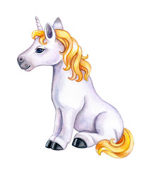 Unicorn with a golden mane isolated on a white background. Character cartoon playful unicorn. Watercolor. Illustration. Template. Hand drawing. Clipart. Close-up