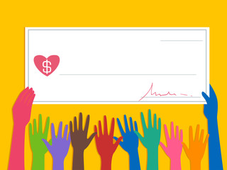 Hands Cheque Donate Illustration