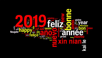 2019 word cloud on black background, new year translated in many languages