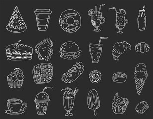 Big set elements with hand drawn food, sweets and drinks on a chalkboard background