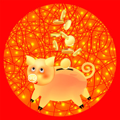 Festive banner-postcard with the image of a golden pig piggy bank, a symbol of the year and coins in a golden circle with lanterns on a red background. Square.