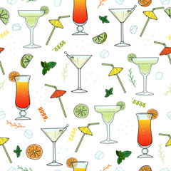 Cocktails. Seamless pattern with hand drawn glass of Margarita, Dry Martini, Tequila Sunrise, straws, decor elements. Vector summer illustration for design, Website, Background, Banner, Menu, Template