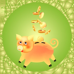 Festive banner-postcard with the image of a golden pig piggy bank, the symbol of the year and coins in a gold frame on a green background. Square.