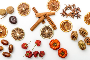 autumn composition with slices of dried oranges, cinnamon, dried strawberries, acorns, anise flower, pine cones and pumpkins, autumn concept,flat lay, top view