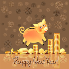 New Year banner card with the image of a golden pig - a piggy bank, a symbol of the year and coins on the surface of the table, in coffee tones with snowflakes. Square.