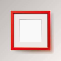 Realistic empty red frame on gray background, border for your creative project, mock-up sample, vector design object
