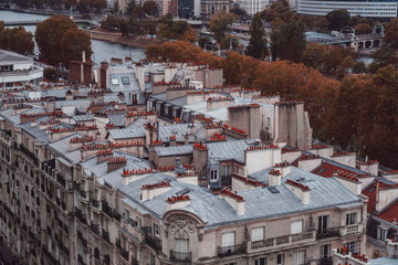 Paris rooftops. Beautiful view of the rooftops and Seine of Paris on a automnal day