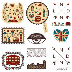 vector set with pictures on the theme of England. For those who like to travel.