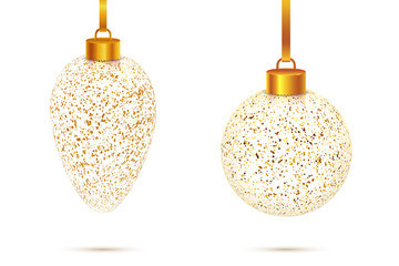 Vector set of 2 amazing realistic transparent Christmas glass balls with golden dust and sparkles isolated on white background. Shining New Year and Xmas crystal toys for the most beautiful fir tree.