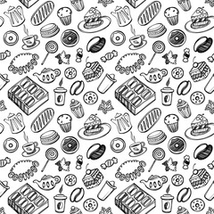 Cartoon cute food and kitchenware on white background. Seamless pattern. Linear illustration. For zentangle book. Dessert time