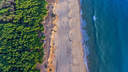 Aerial. Landscape from the sky of the beaches of the Algarve Quarteira Vilamoura.