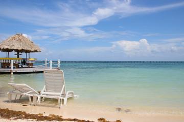Belize, Beach, Sunbed, Parasol