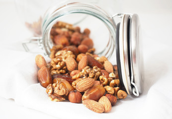 Glass jar of mixed nuts