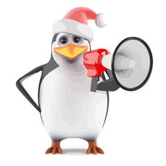Vector 3d Santa penguin yells through a megaphone