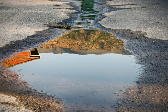 Image reflected in a puddle