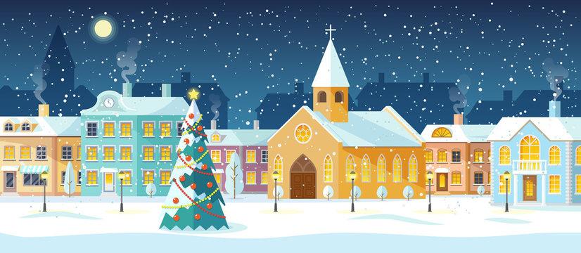 Snowy night in cozy christmas town city panorama. Snowy street with Christmas tree. Winter christmas village night landscape