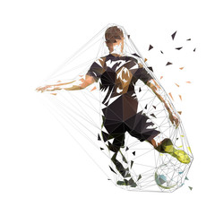Football player in black jersey kicking ball, abstract low poly vector drawing. Soccer, isolated geometric colorful illustration