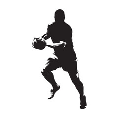 Rugby player running with ball, isolated vector silhouette,front view. Ink drawing. Team sport