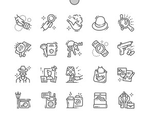 Private Detective Well-crafted Pixel Perfect Vector Thin Line Icons 30 2x Grid for Web Graphics and Apps. Simple Minimal Pictogram