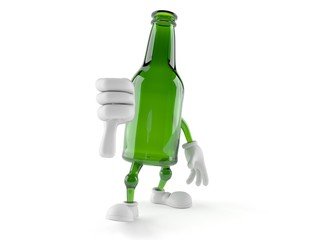Green glass bottle character with thumbs down gesture