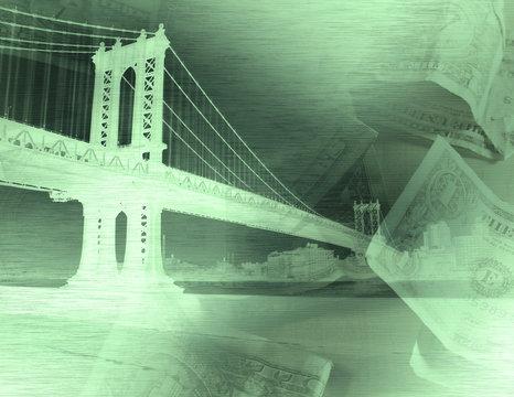 Manhattan bridge and dollars