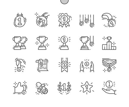 Awards and Trophies Well-crafted Pixel Perfect Vector Thin Line Icons 30 2x Grid for Web Graphics and Apps. Simple Minimal Pictogram
