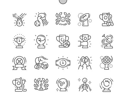 Sport and trophies Well-crafted Pixel Perfect Vector Thin Line Icons 30 2x Grid for Web Graphics and Apps. Simple Minimal Pictogram